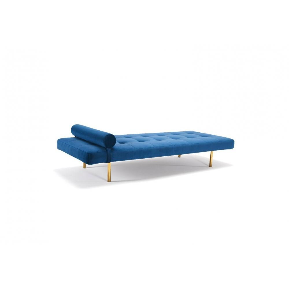 INNOVATION LIVING NAPPER Méridienne lit DAYBED bleu 200*80 cm piétement doré