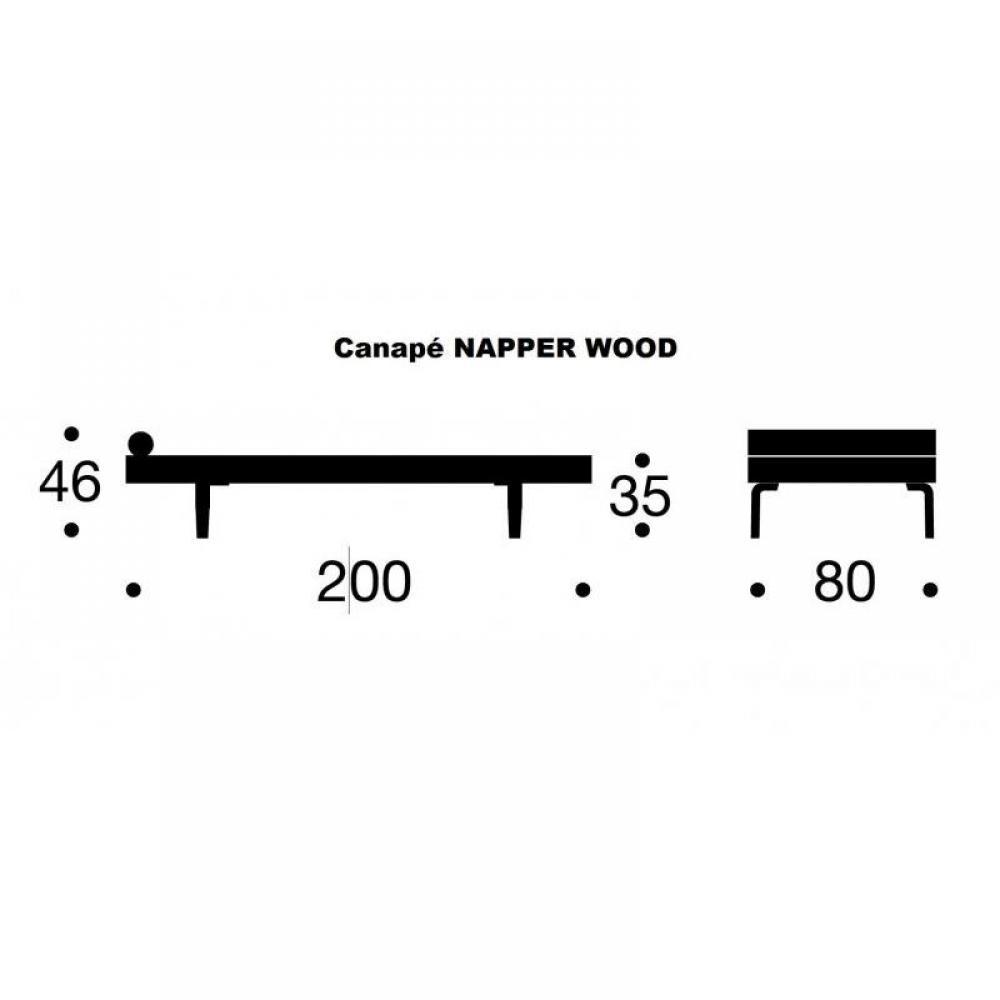 Méridienne lit DAYBED NAPPER BOW gris Mixed Dance Grey convertible lit 200*80 cm  piétement en chêne