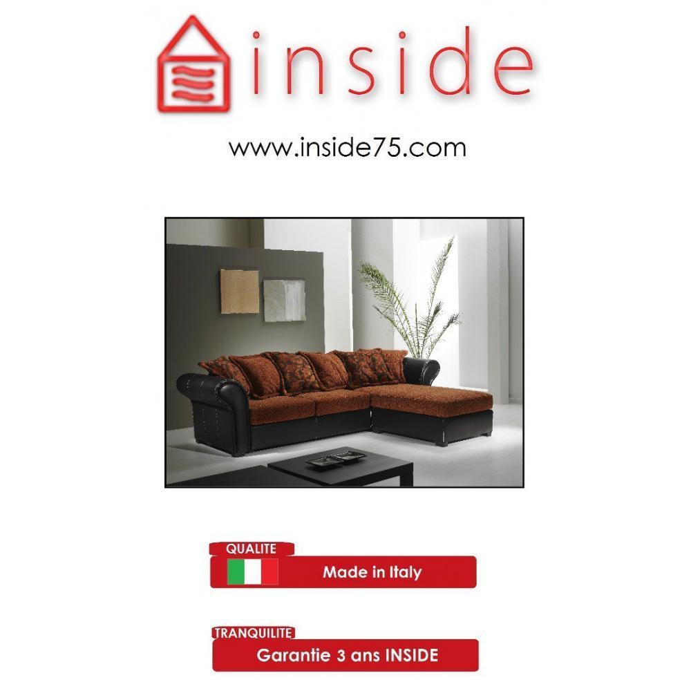 canap s convertibles ouverture rapido canap d 39 angle nepal tissu orange et cuir noir inside75. Black Bedroom Furniture Sets. Home Design Ideas