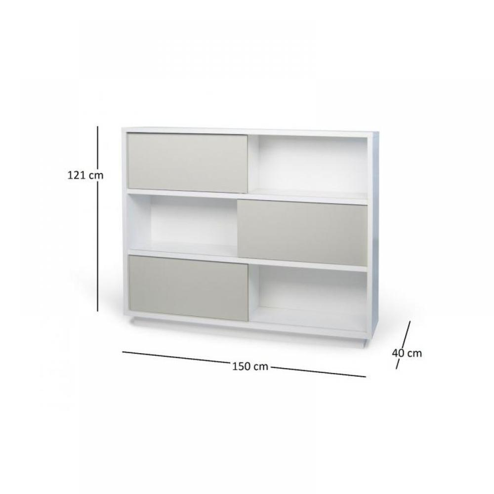 Biblioth ques tag res meubles et rangements nilo tag re blanche avec 3 po - Etagere bibliotheque blanche ...