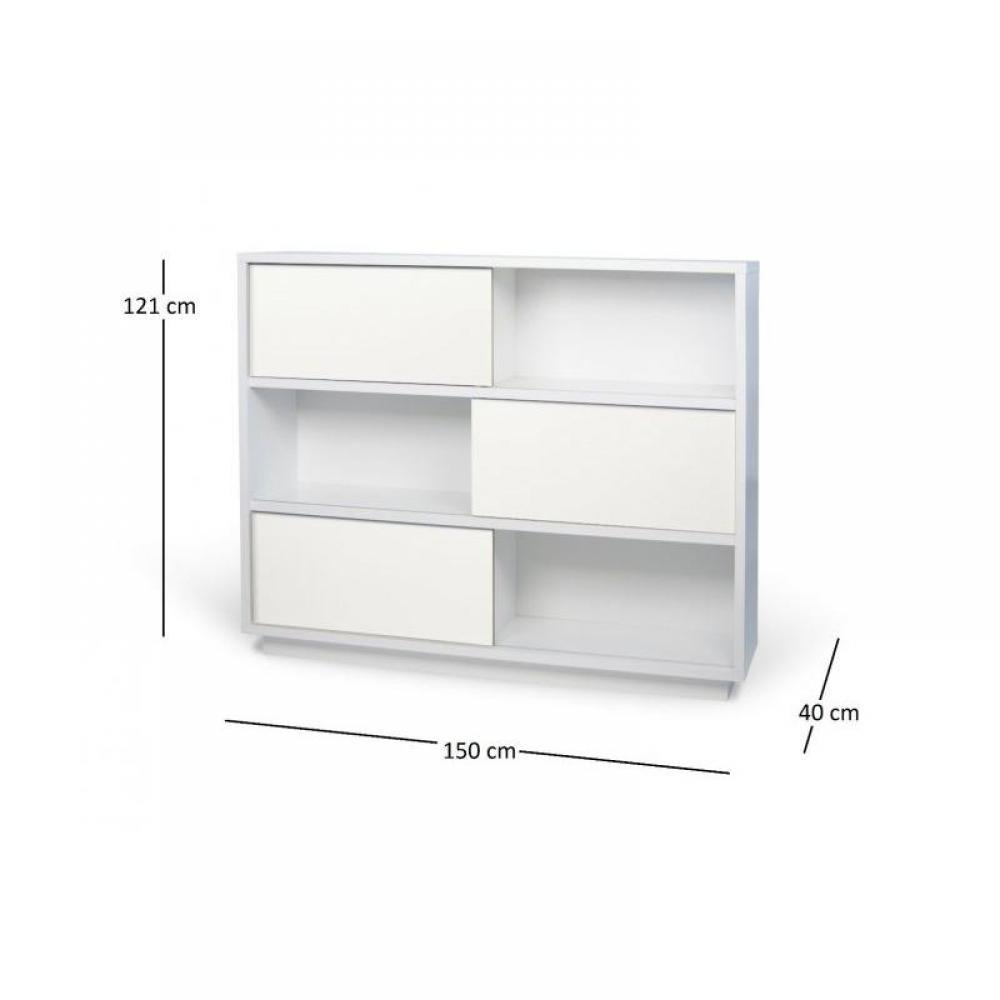 biblioth ques tag res meubles et rangements nilo tag re blanche avec 3 portes coulissantes. Black Bedroom Furniture Sets. Home Design Ideas
