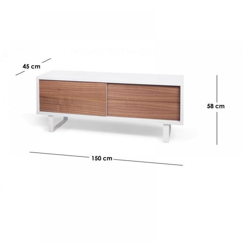 meubles tv meubles et rangements nilo meuble tv design avec 1 porte coulissante et 2 tiroirs. Black Bedroom Furniture Sets. Home Design Ideas