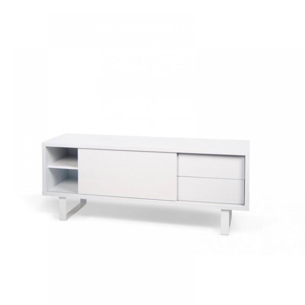 Meubles tv meubles et rangements nilo meuble tv design blanc avec 1 porte coulissante 2 for Meuble design portugal