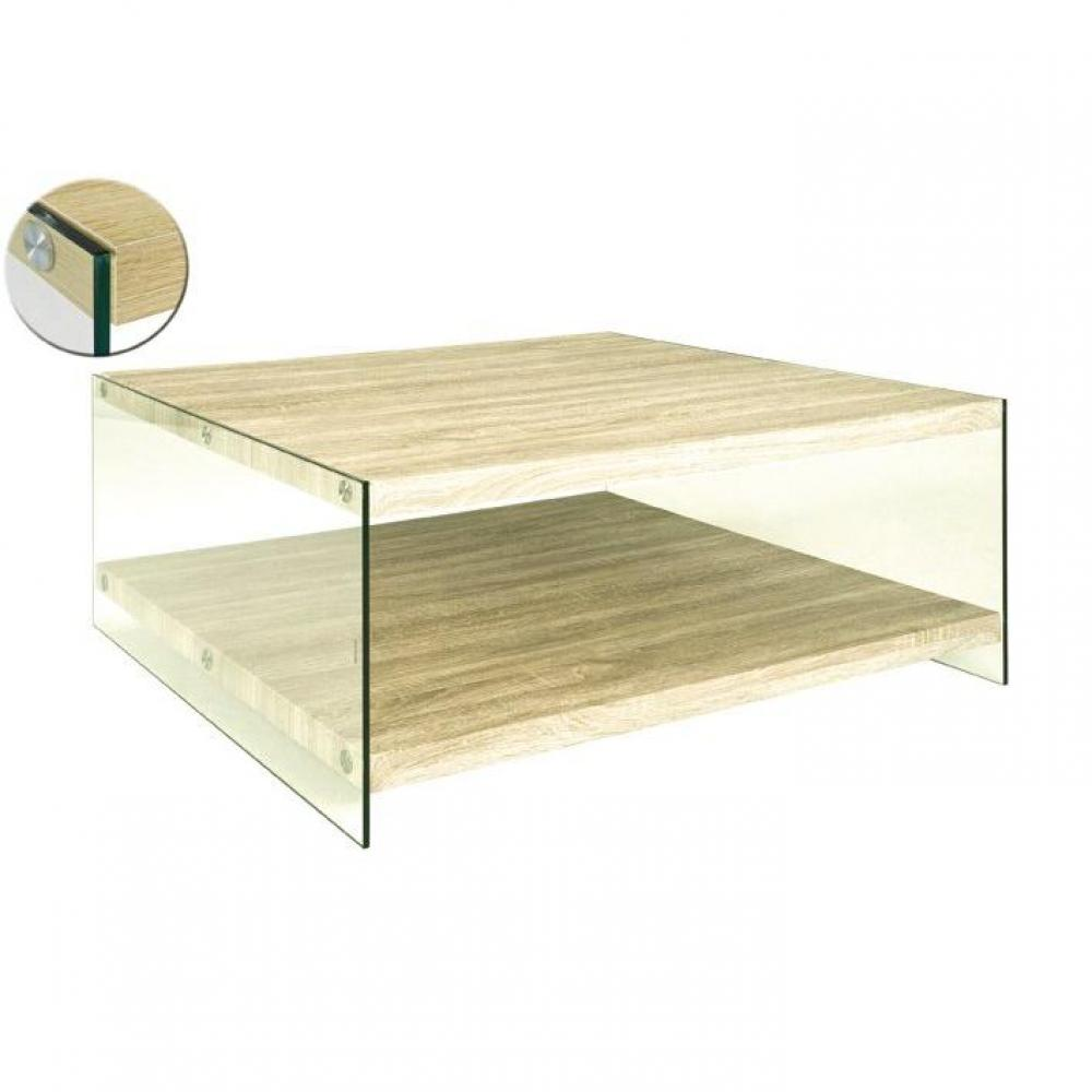 Table basse carr e ronde ou rectangulaire au meilleur - Table basse chene verre ...