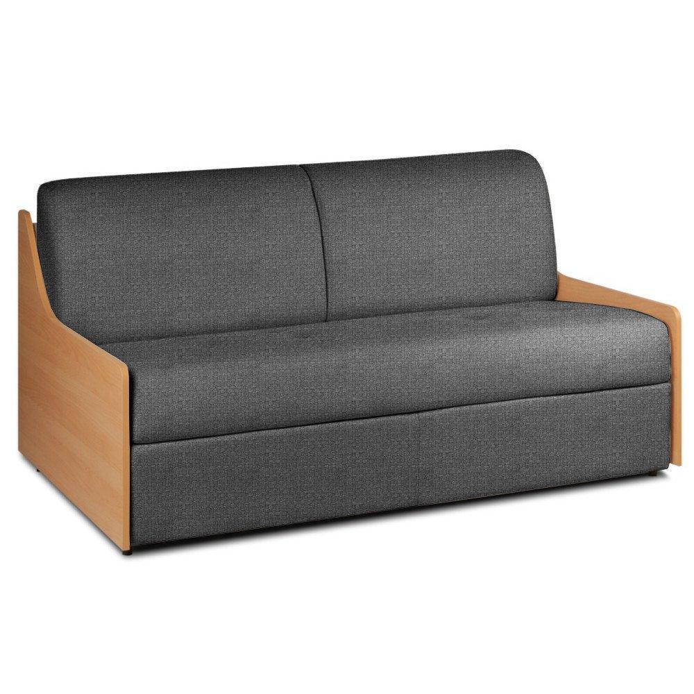 Canapé lit compact 3 places NORMANN 140cm matelas 14cm ouverture express accoudoirs bois tissu tweed gris anthracite