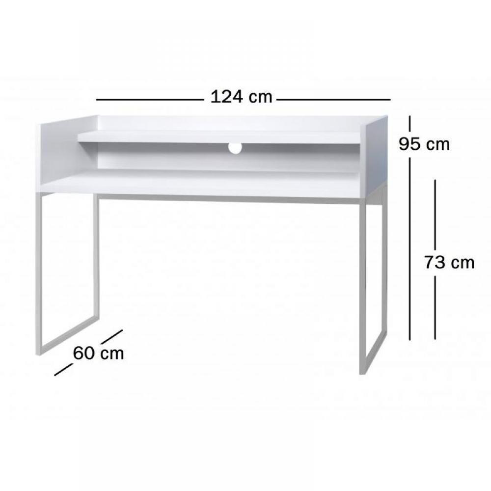 bureaux meubles et rangements norway bureau modulable 2 plateaux finition blanc inside75. Black Bedroom Furniture Sets. Home Design Ideas