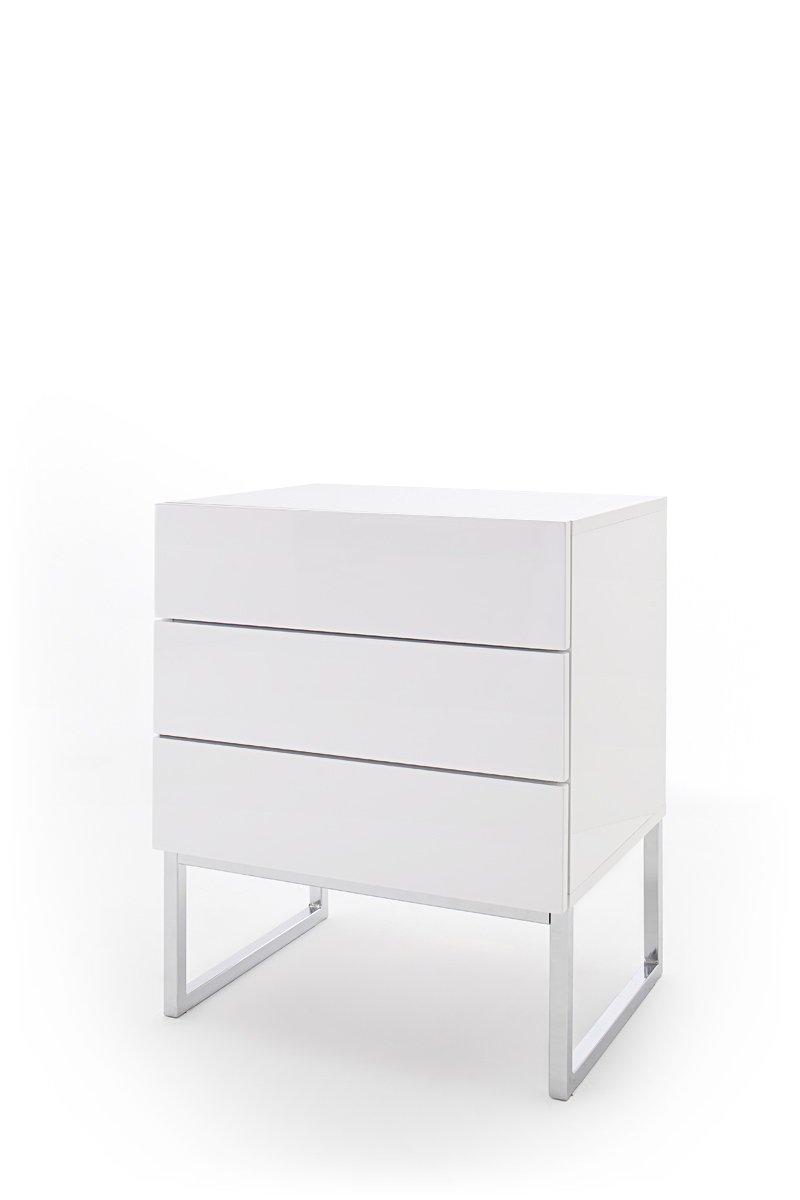 Chevet NOVO laqué blanc brillant pieds chromés 3 tiroirs