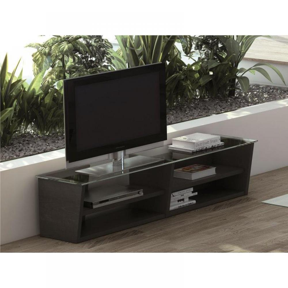 temahome oliva meuble tv weng avec plateau en verre