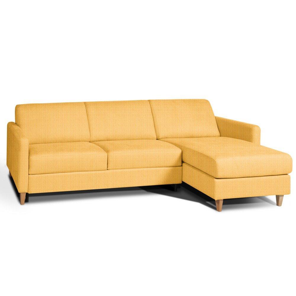 Canapé d'angle 3 places Jaune Tissu Design Confort