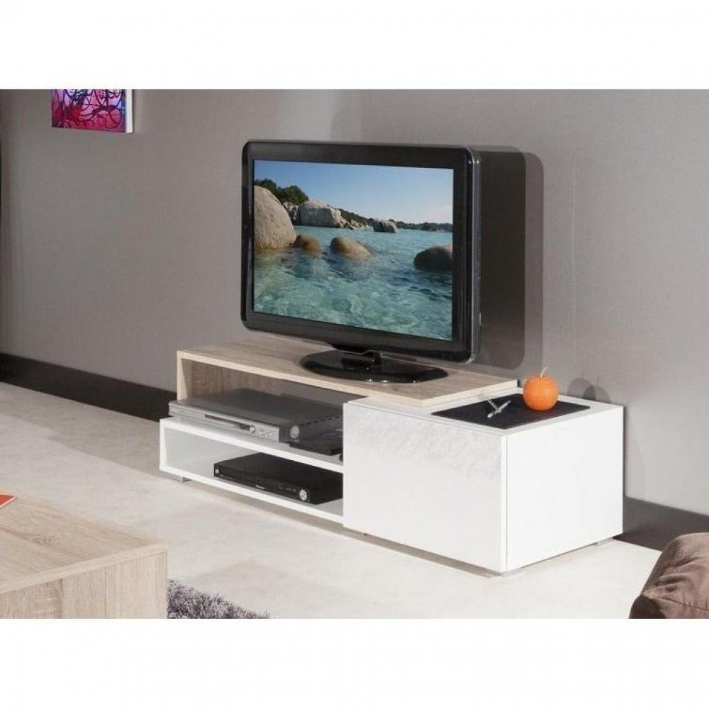 meubles tv meubles et rangements pacific meuble tv couleur blanc laqu brillant et ch ne. Black Bedroom Furniture Sets. Home Design Ideas