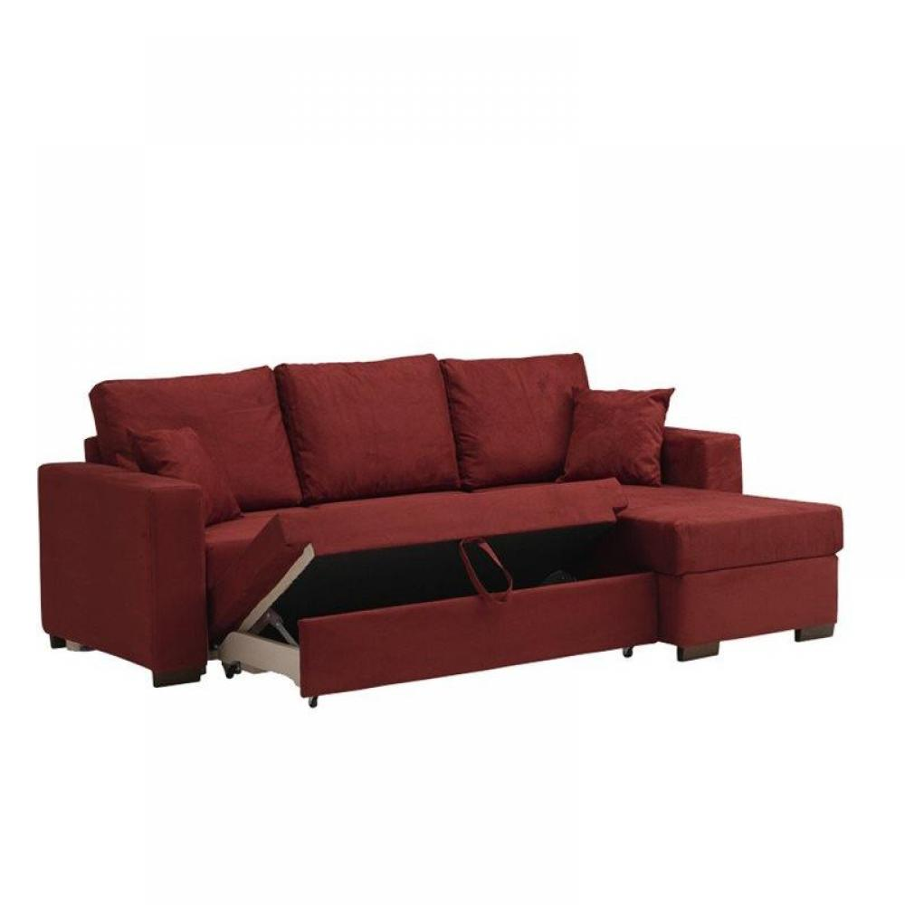 Canap d 39 angle convertible parigi coffre microfibre bordeaux ebay - Canape convertible definition ...