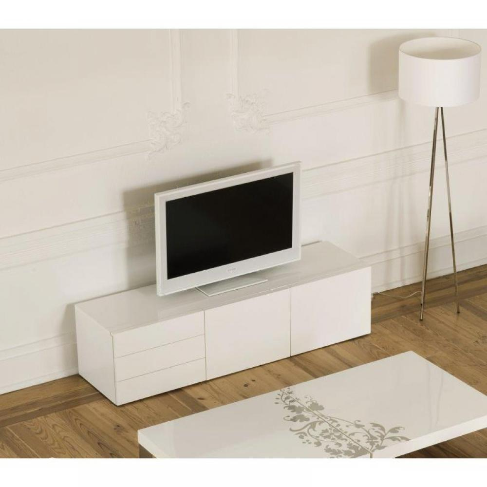 meubles tv meubles et rangements temahome glare meuble tv avec tiroirs et portes laqu blanc. Black Bedroom Furniture Sets. Home Design Ideas