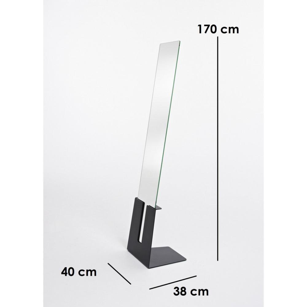 miroirs meubles et rangements poke miroir psyche en verre avec pied design de couleur noire