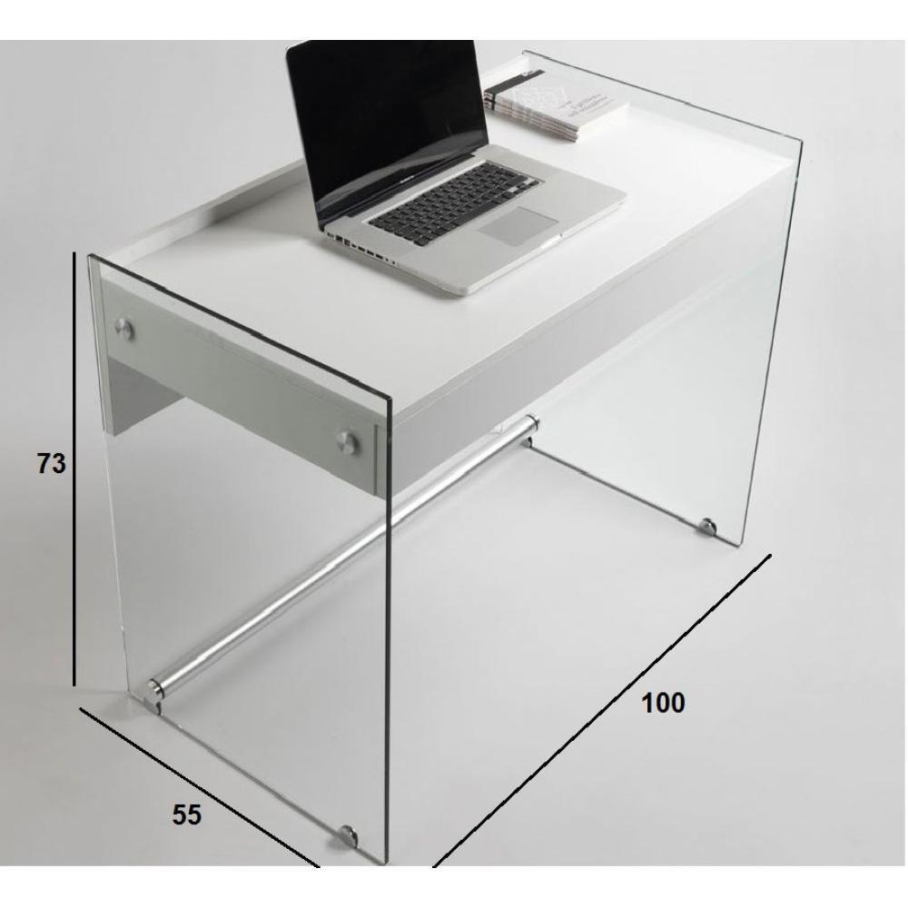 bureaux meubles et rangements porte ordinateur mydesk blanc pi tement en verre avec 1 tiroir. Black Bedroom Furniture Sets. Home Design Ideas