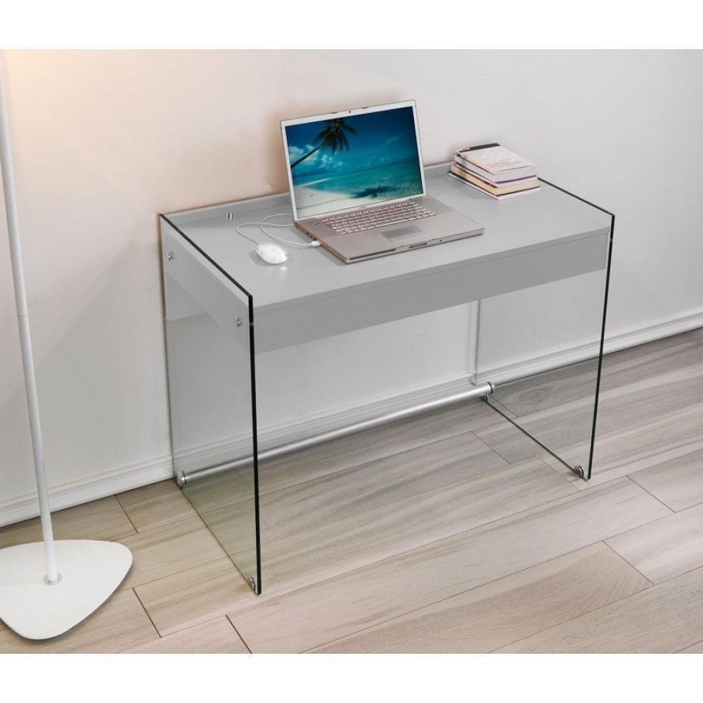 bureaux meubles et rangements porte ordinateur mydesk gris pi tement en verre avec 1 tiroir. Black Bedroom Furniture Sets. Home Design Ideas