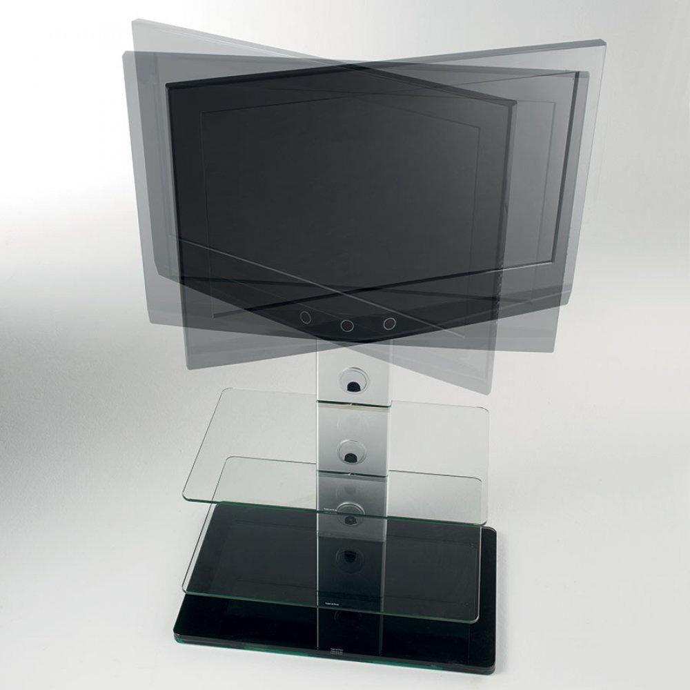 meubles tv meubles et rangements porte tv madrid pivotant en verre inside75. Black Bedroom Furniture Sets. Home Design Ideas