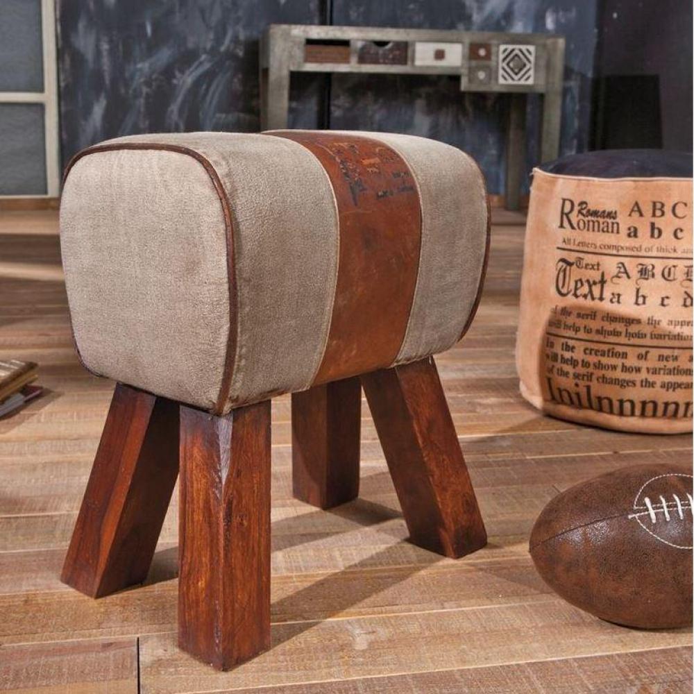 Pouf repose pieds design au meilleur prix pouf stromboli en bois assise en coton et cuir for Pouf cuir vieilli