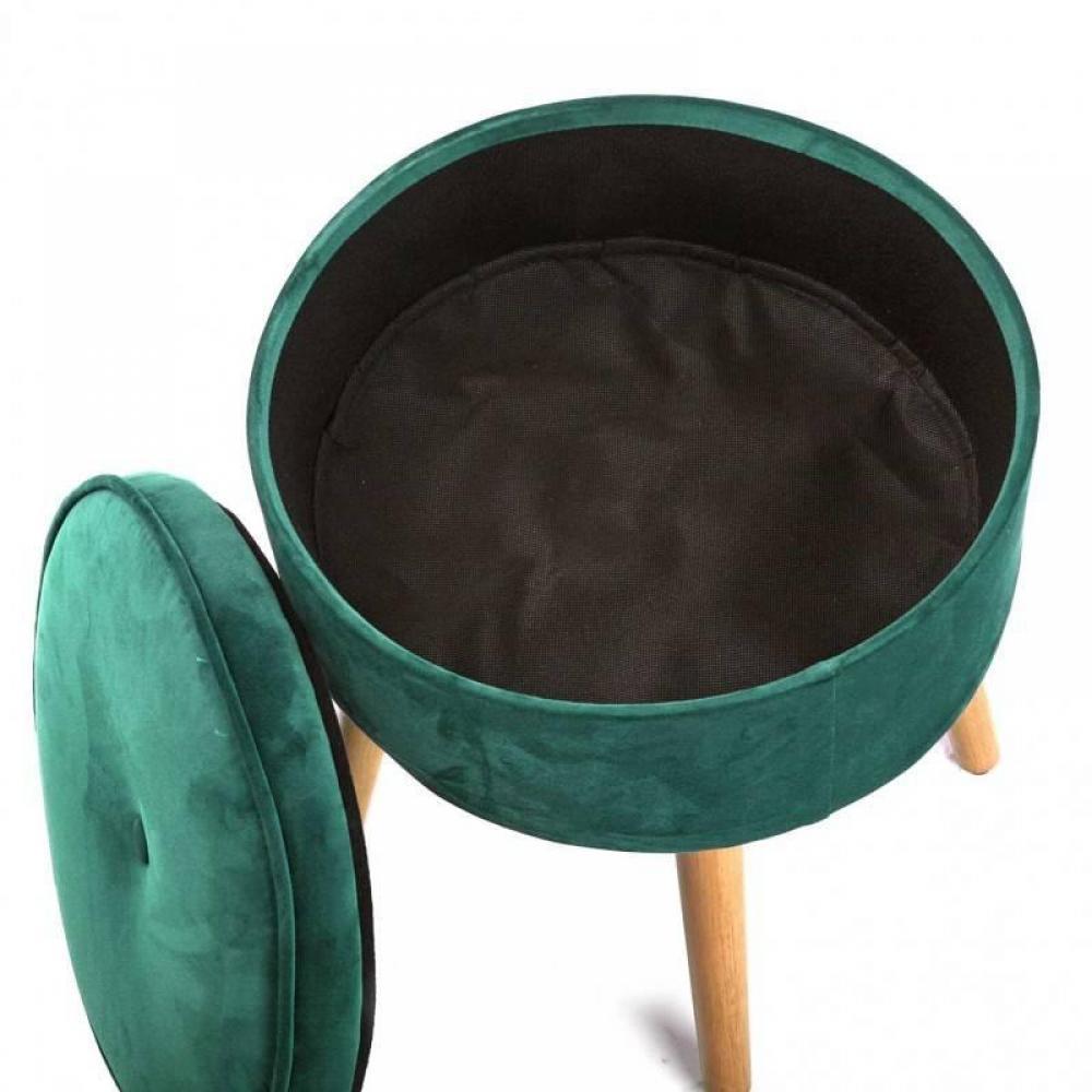 fauteuils et poufs canap s et convertibles pouf rond coffre saba velours vert inside75. Black Bedroom Furniture Sets. Home Design Ideas