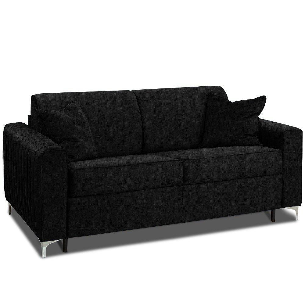 Canapé convertible rapido PRINCE matelas 160cm sommier lattes RENATONISI tête de lit intégrée tissu microfibre noir