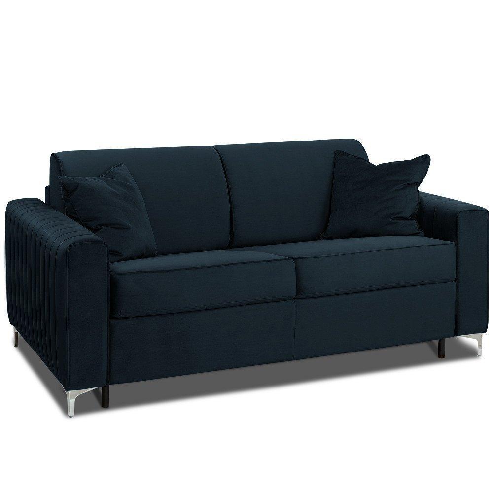 Canapé convertible rapido PRINCE 140cm comfort BULTEX® sommier lattes tête de lit intégrée velours gris foncé
