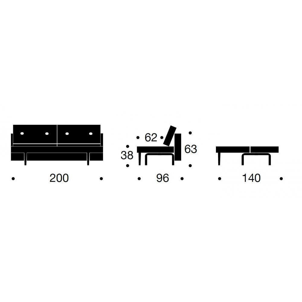 INNOVATION LIVING  Canape design RECAST PLUS Nist Blue convertible lit 200*140cm