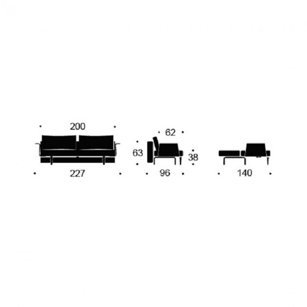 INNOVATION LIVING  Canape design RECAST PLUS Soft Pacific Pearl convertible lit 200*140cm accoudoirs noyer