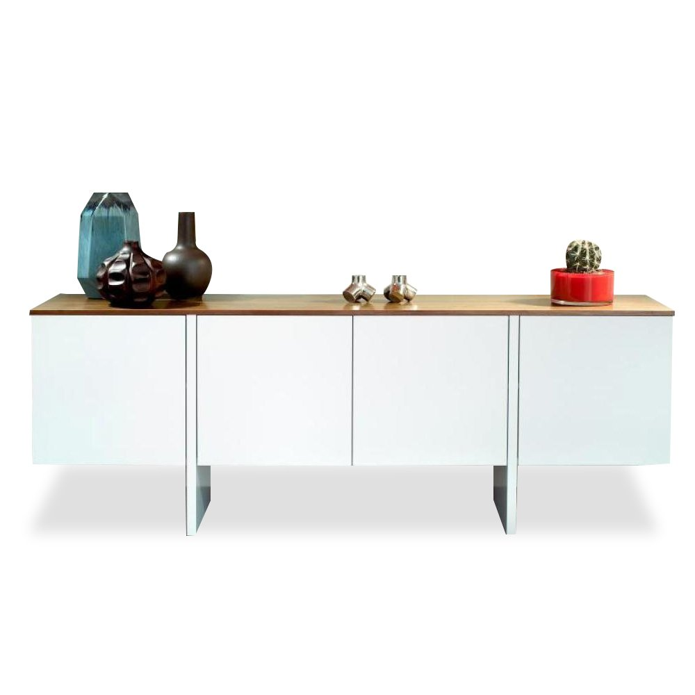 buffets meubles et rangements temahome edge buffet 4 portes blanc avec plateau noyer inside75. Black Bedroom Furniture Sets. Home Design Ideas