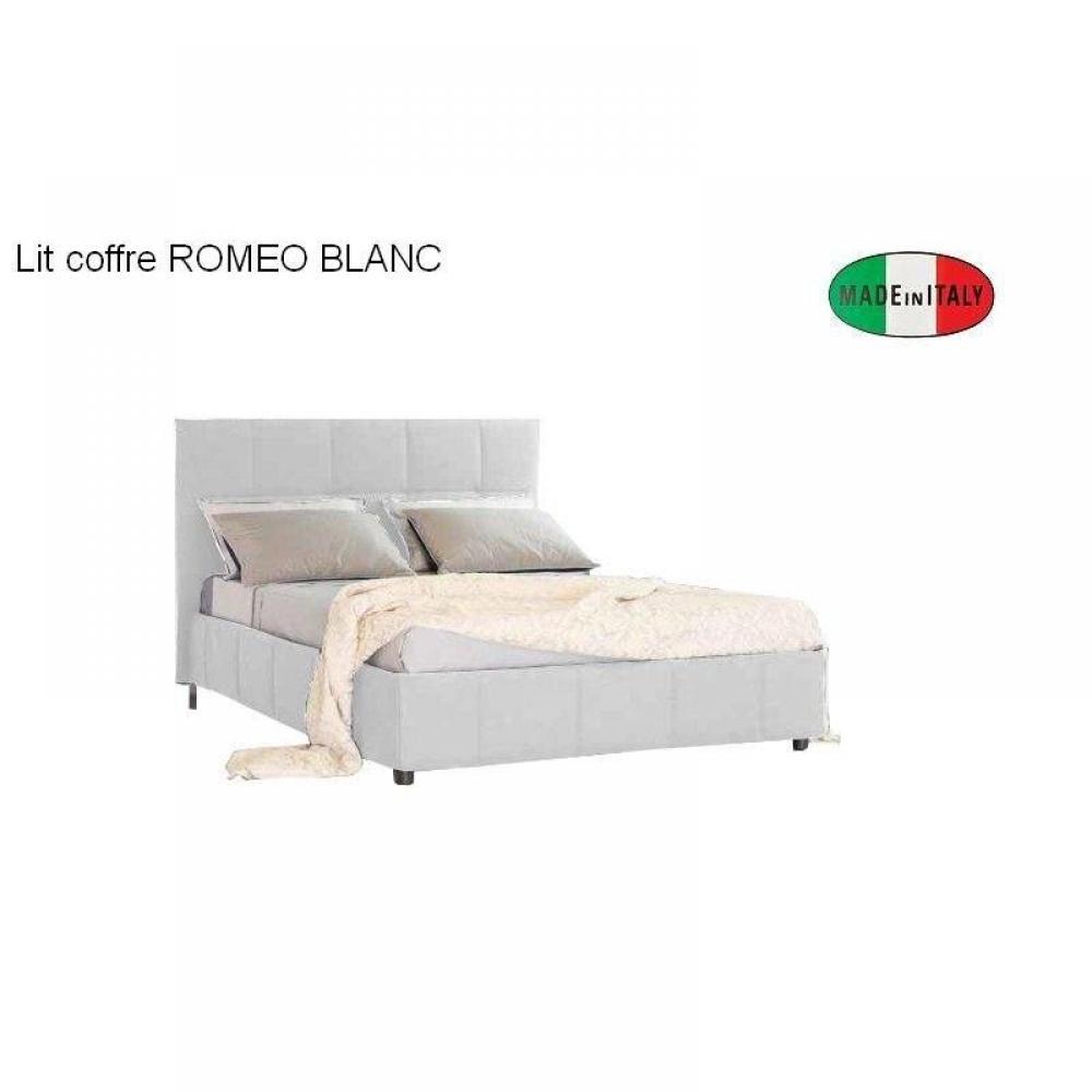 Lits coffres chambre literie lit coffre design romeo couchage 120 190 - Lit coffre sans tete de lit ...