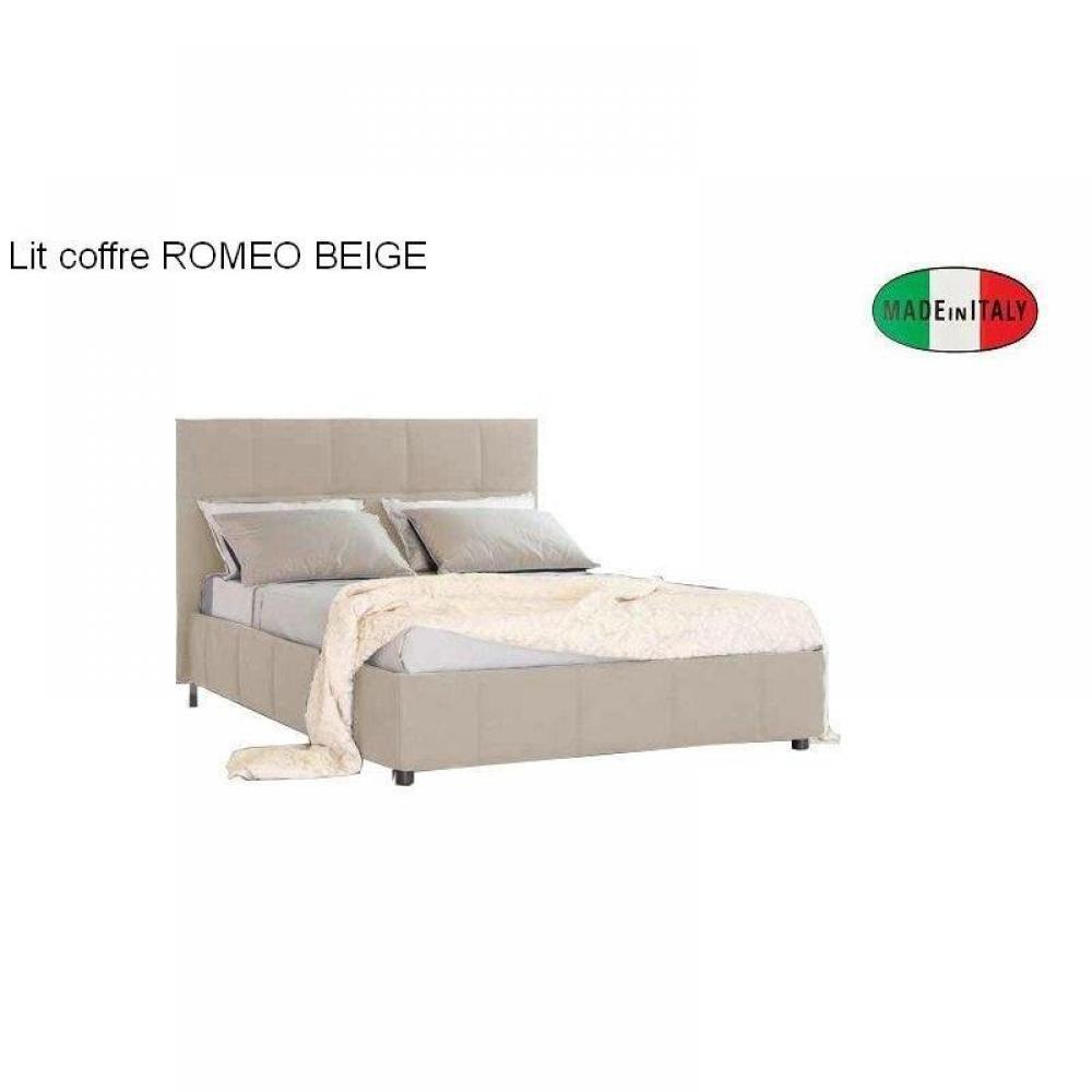 lit coffre design romeo couchage 160*200cm, tête de lit capitonnée