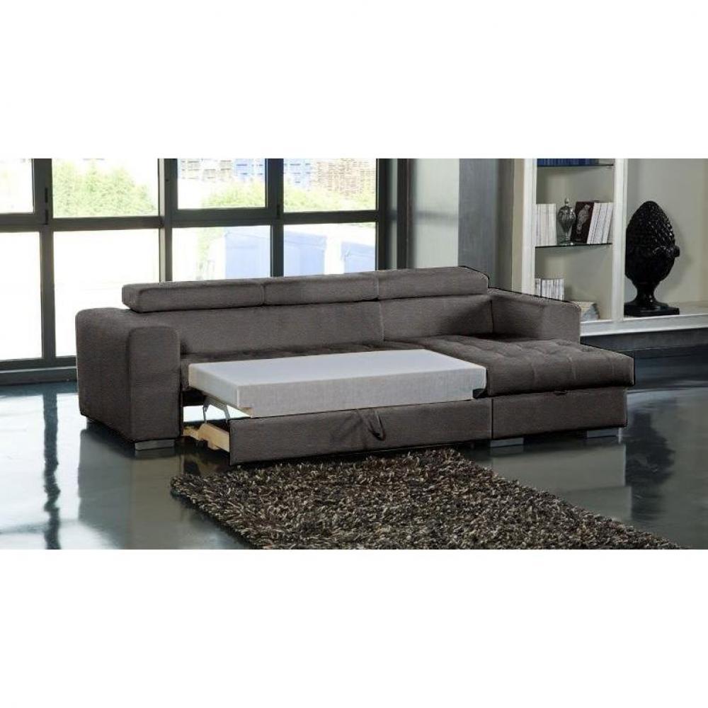 Canapé d'angle droit SAMUEL convertible lit gigogne en tissu polyuréthane simili façon cuir marron + méridienne coffre