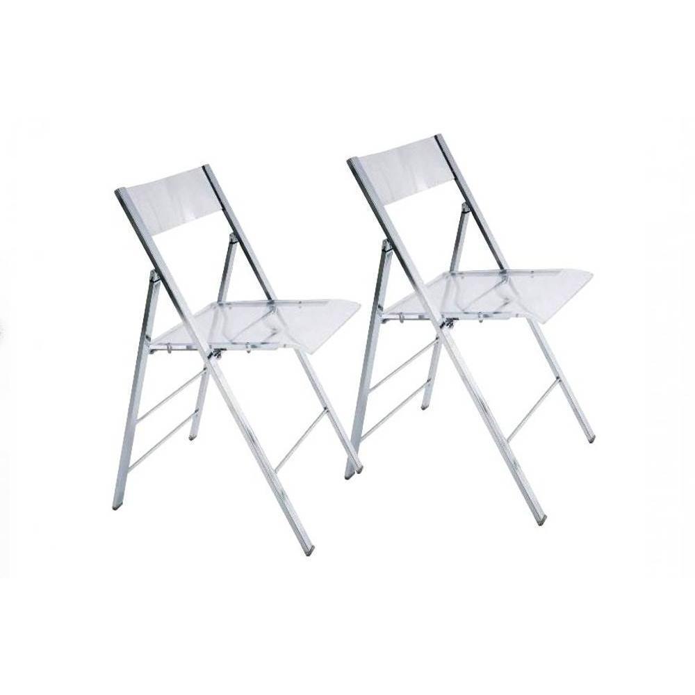 Lot de 2 chaises pliantes SEAL transparentes et chromées
