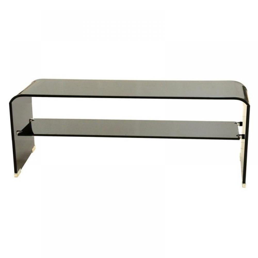 meubles tv meubles et rangements meuble tv t l verre noir inside75. Black Bedroom Furniture Sets. Home Design Ideas