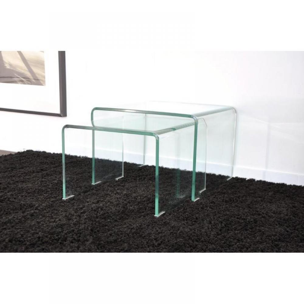 bouts de canapes tables et chaises side gigogne transparente 2 tables verre design inside75. Black Bedroom Furniture Sets. Home Design Ideas