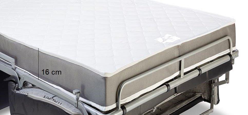 Canapé express 120 cm SOFIA EDITION Cuir et PU Cayenne blanc matelas 16 cm
