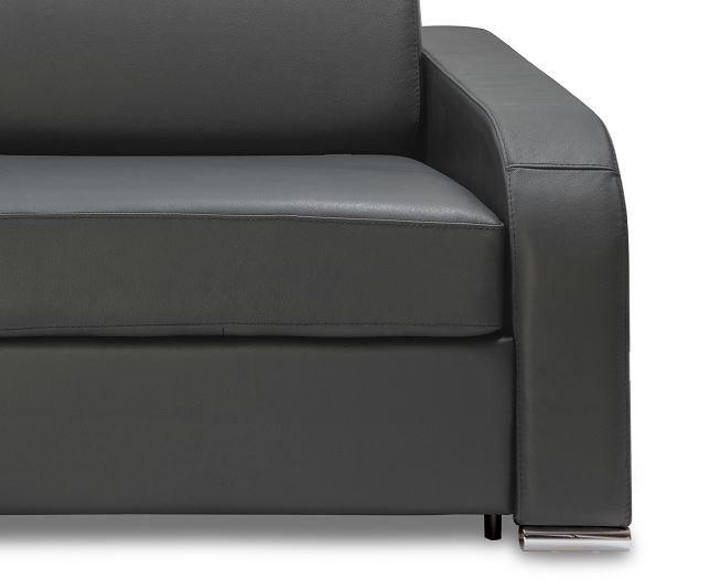 Canapé express 140 cm SOFIA EDITION Cuir et PU Cayenne gris matelas 16 cm
