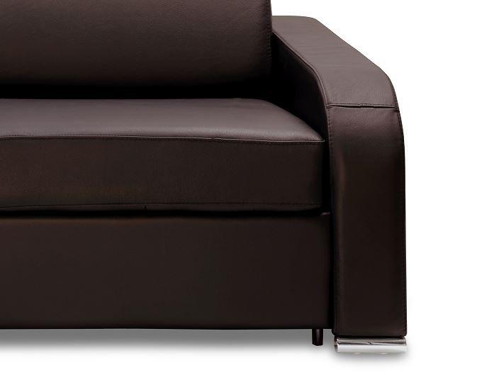 Canapé express 160 cm SOFIA EDITION Cuir et PU Cayenne marron matelas 16 cm