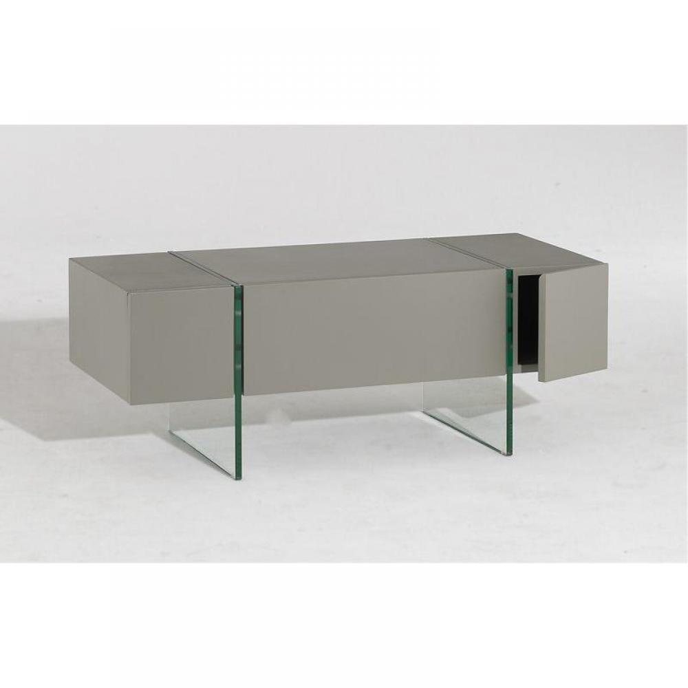 Meubles tv meubles et rangements solaris meuble tv taupe for Meuble tele verre