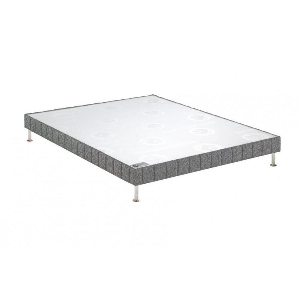 BULTEX Sommier tapissier confort ferme  gris flanelle 140*190cm à lattes pieds acier chromé