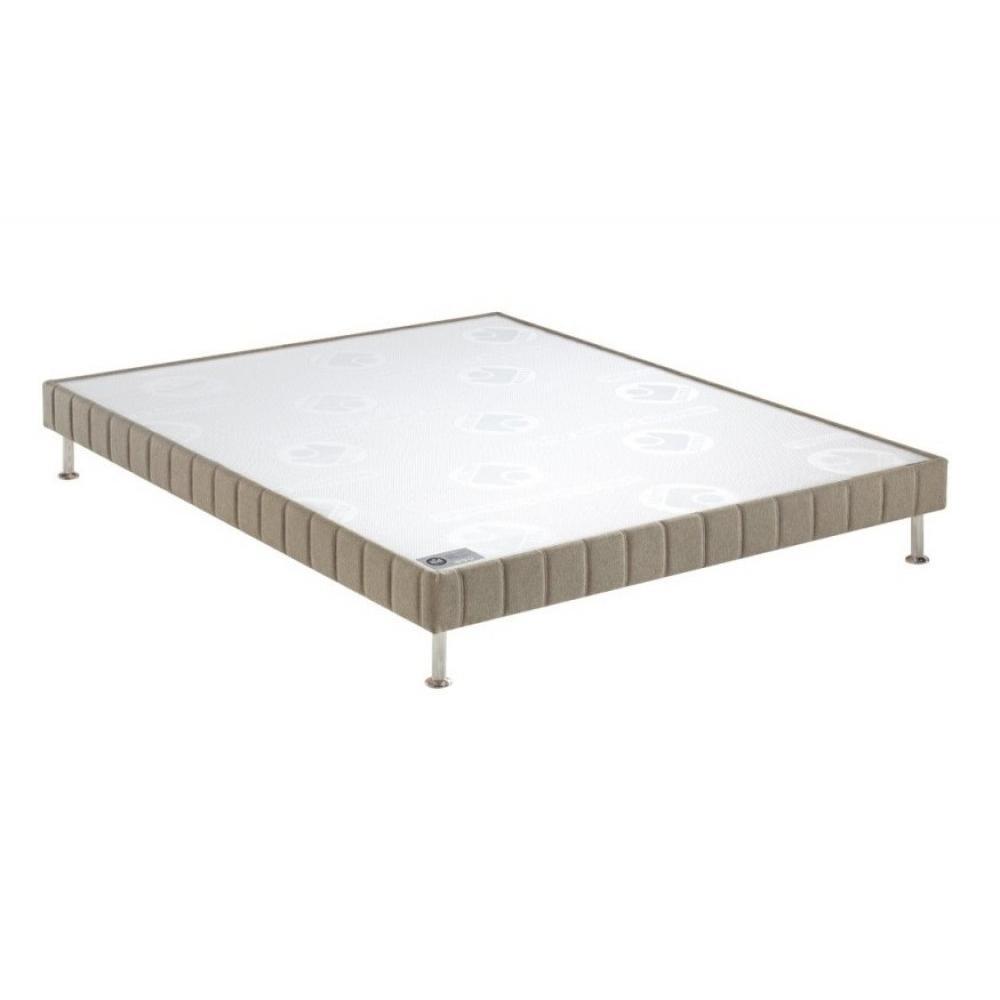 BULTEX Sommier tapissier confort ferme  marron glacé 70*190cm à lattes pieds acier chromé inclus