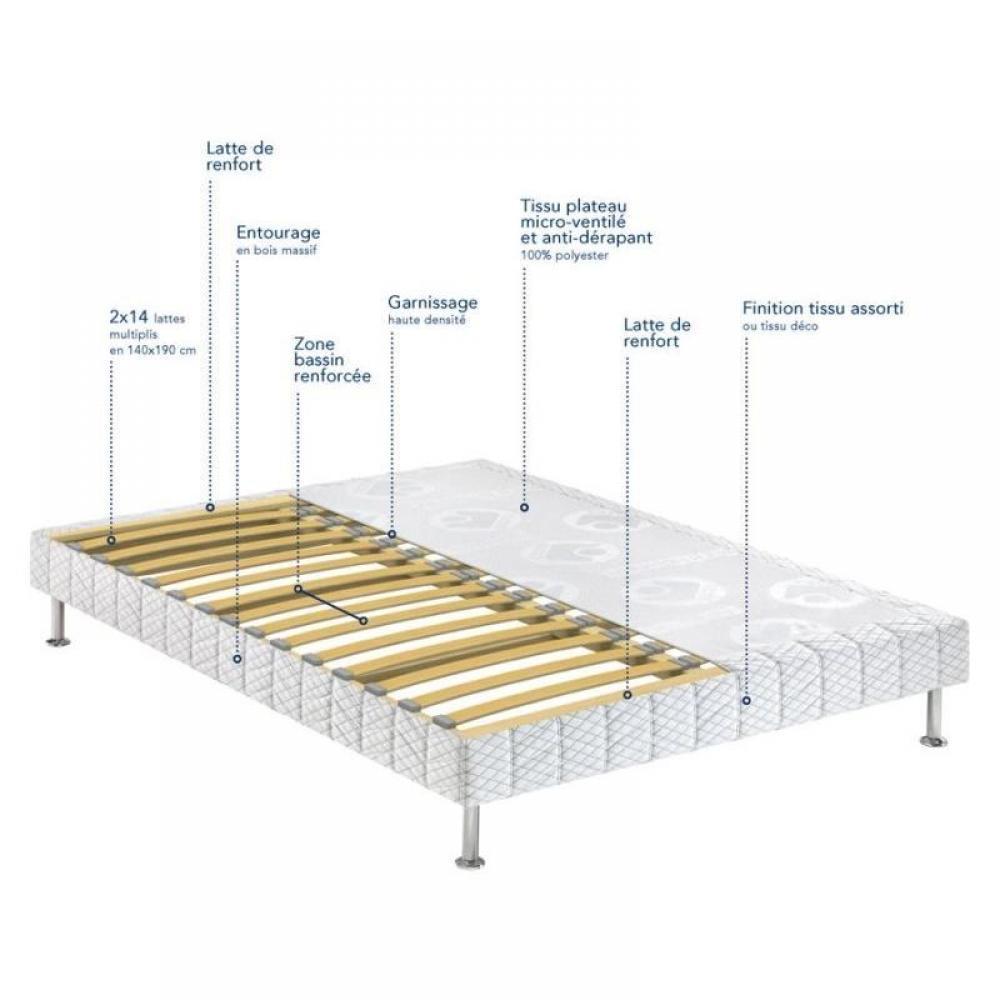 sommiers au meilleur prix bultex sommier tapissier confort medium 3 zones en tissu enduit noir. Black Bedroom Furniture Sets. Home Design Ideas