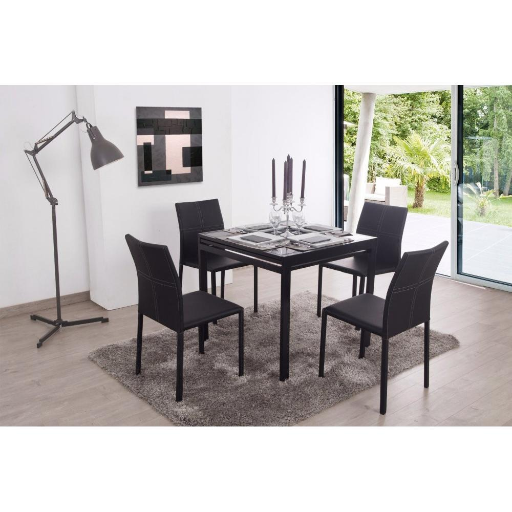 tables design au meilleur prix table repas carr extensible verny noir inside75. Black Bedroom Furniture Sets. Home Design Ideas
