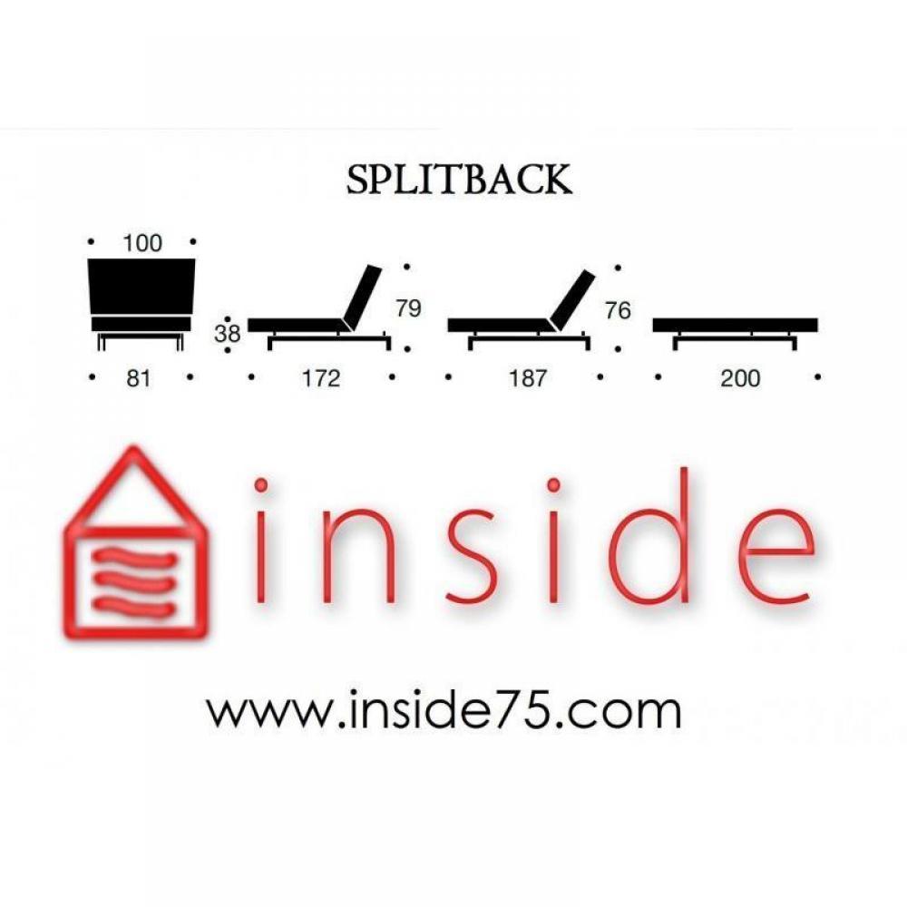 INNOVATION LIVING Meridienne design SPLITBACK convertible lit 100*200cm piétement fuseau noyer