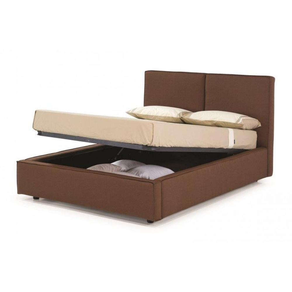 lits coffres chambre literie lit coffre design squadra marron chocolat couchage 2 personnes. Black Bedroom Furniture Sets. Home Design Ideas