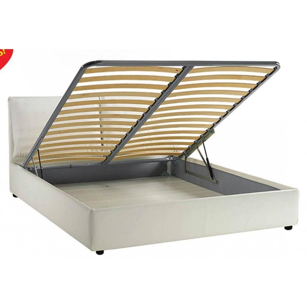 Lits chambre literie lit coffre haut de gamme stona couchage 140 190 cm similicuir blanc - Literie haut de gamme simmons ...