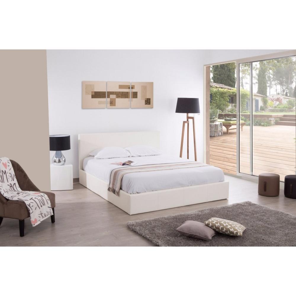 lits chambre literie lit coffre haut de gamme stona couchage 140 190 cm similicuir blanc. Black Bedroom Furniture Sets. Home Design Ideas