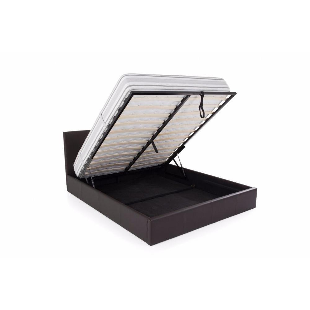 lits chambre literie lit coffre haut de gamme stona couchage 140 190 cm simili putaupe. Black Bedroom Furniture Sets. Home Design Ideas