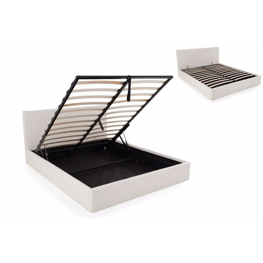 lits chambre literie lit coffre haut de gamme stona couchage 160 200 cm simili publanc. Black Bedroom Furniture Sets. Home Design Ideas