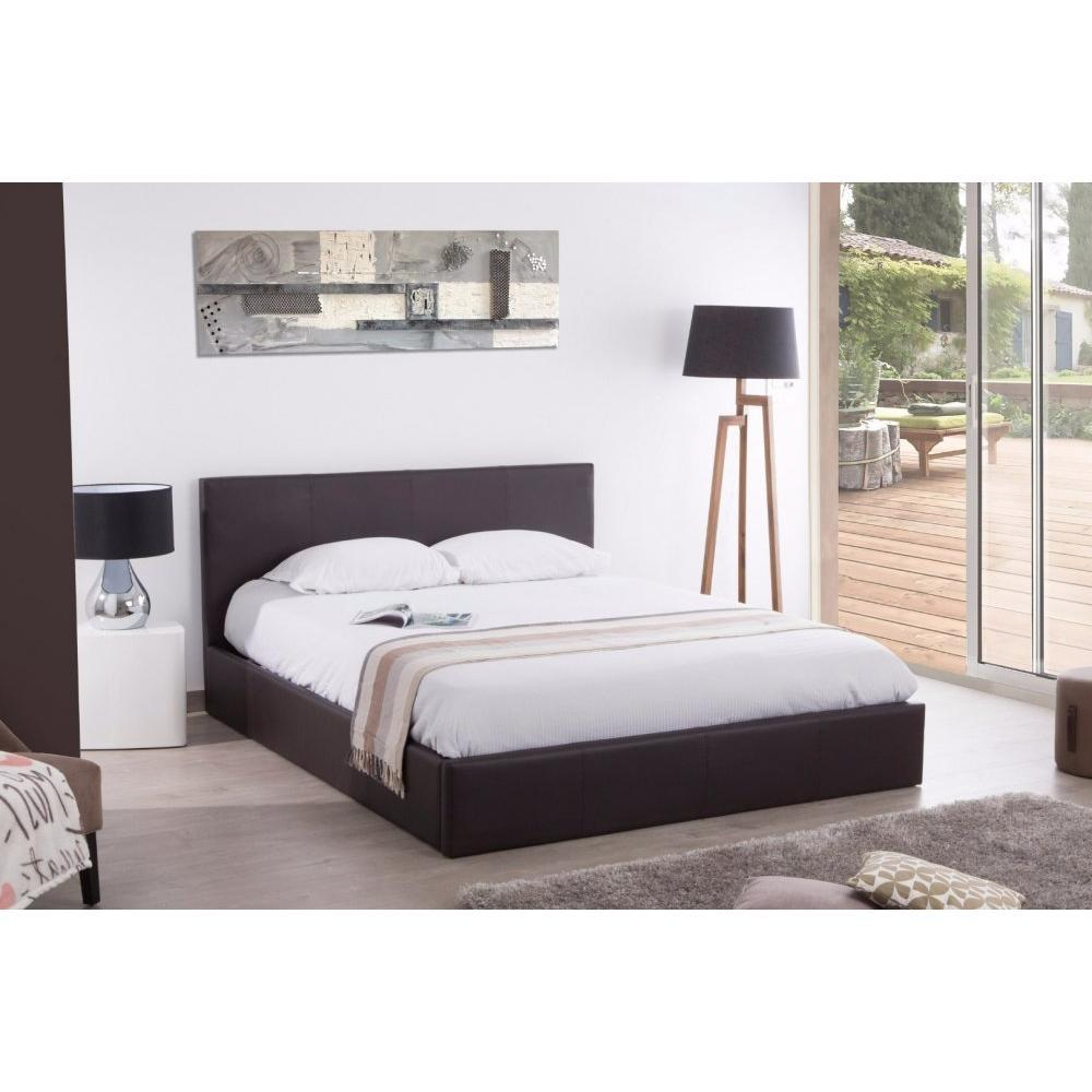 lits chambre literie lit coffre haut de gamme stona couchage 160 200 cm simili putaupe. Black Bedroom Furniture Sets. Home Design Ideas