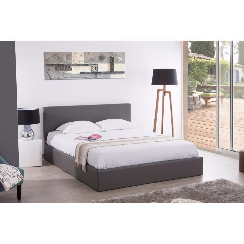 lits chambre literie lit coffre haut de gamme stona couchage 180 200 cm simili pugris inside75. Black Bedroom Furniture Sets. Home Design Ideas