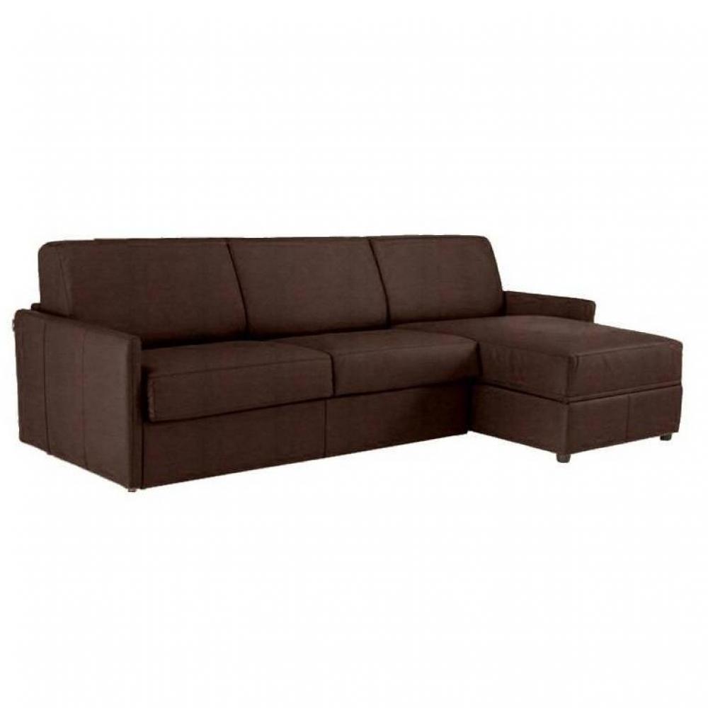 Canapé d'angle 2 places Marron Tissu Confort
